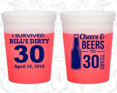 30th Birthday Mood Cups, Cheers and Beers, Cheers to 30 Years, Dirty 30, Dirty Thirty, Birthday Color Changing Cups (20214)