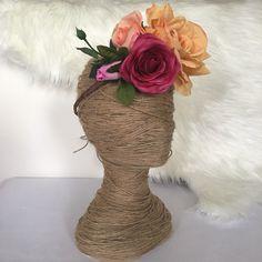 Peach Coral Magenta Rose Flower Crown /Bright mixed headband / Boho / Festival / Racewear / Flower Girl Hair Flowers / Bridal Head piece by FauxFloralCo on Etsy https://www.etsy.com/au/listing/468995358/peach-coral-magenta-rose-flower-crown
