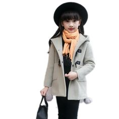 27.71$  Watch now - http://alix3k.shopchina.info/go.php?t=32775403866 - 2017 Children Clothing Smile Bottons Girls Wool Coat Single-breasted Winter Girl Long Coats Overcoat Thicken Kids Trench Jackets  #shopstyle