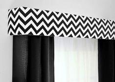 Cornice Board Valance in Black and White.  Classic chic meets modern chevron!