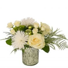 Frosted Sparkle: Glittering green accents enhance white roses, white Anastasia mums and green hydrangea. All in a mercury glass vase. Christmas Floral Arrangements, Green Hydrangea, Green Accents, Mercury Glass, White Roses, Anastasia, Frost, Glass Vase, Sparkle