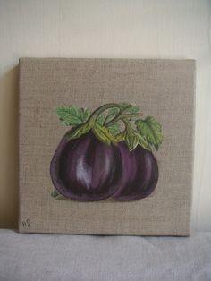 Peinture macaron sur toile de lin fraise rose toile et roses for Peinture aubergine