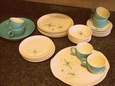 atomic dishes...This the set my aunt and  uncle had while I was growing up.