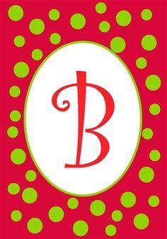 Superior Christmas Polka Dot Monogram B Garden Flag