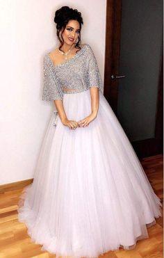 Snow White Look Indo-Western Lehenga Set Party Wear Indian Dresses, Indian Wedding Gowns, Indian Gowns Dresses, Dress Indian Style, Party Wear Lehenga, Peach Prom Dresses, Homecoming Dresses, Wedding Dress, Lehenga Choli Designs