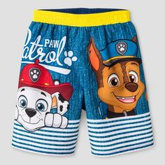 Paw Patrol Boys Swim Trunks by Nickelodeon. Size Information  Toddler s  Featuring Chase 08fbbd925552