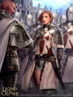 f Paladin Plate Armor Cloak Longsword female urban City Guard Lieutenant vs m Paladin LE Plate Armor Cloak Guard Captain male story Seguindo Legend of the Cryptids lg Fantasy Girl, Fantasy Female Warrior, Chica Fantasy, Female Armor, Female Knight, Warrior Girl, Fantasy Armor, Dark Fantasy Art, Medieval Fantasy