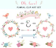 Oh, love! clip art set. 14 unique elements - Floral wreaths, floral ribbon banners, floral bunches, floral elements, birds clipart perfect for