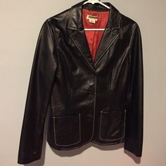 Michael Kors Black Leather Jacket Sz 6 Authentic Michael Kors Leather Jacket. Black. 3 Button front. Size 6. White stitching. 2 Front pockets. Lined. Super Soft Leather. No trades. Michael Kors Jackets & Coats