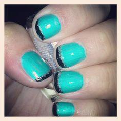 Turquoise, black & silver glitter :)