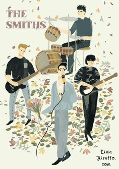 The Smiths Poster Morrissey Johnny Marr Mike Joyce Andy Rourke Mike Joyce, Alternative Songs, The Smiths Morrissey, The Queen Is Dead, Johnny Marr, Little Charmers, Music Illustration, Charming Man, Latest Albums