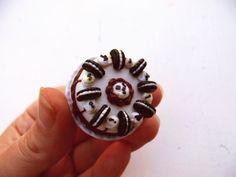 Sweet jewelry necklace pendant handmade cake miniature dessert mini food dollhouse fimo tiny candy oreo kawaii cute ooak jewellery gift
