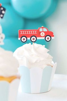 Check out this fun vintage fire truck birthday party! What awesome cupcakes! See more party ideas and share yours at CatchMyParty.com