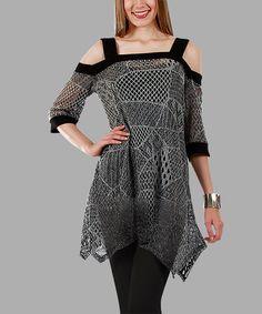 Look what I found on #zulily! Black & Gray Off-Shoulder Handkerchief Tunic #zulilyfinds