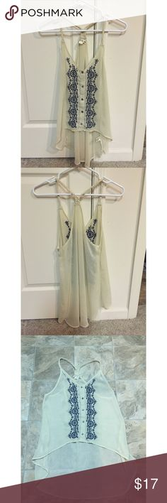 High low tank top Sheer cream high low tank top with blue embroidery Tops Tank Tops
