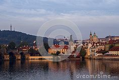 View  on old city  and river Vltava in Prague in summer.