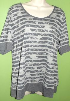 Maurices Plus Size 1 Gray Shirt Rockabilly Punk Emo Rock Size 18