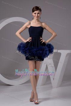 #blueandgoldpromspirit Lovely Navy Blue Spaghetti Straps Short Semi-formal Prom Dress with Flowers