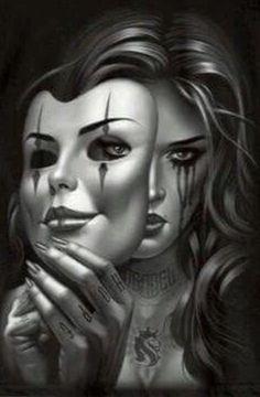 Chicano Tattoo Ogabel Men Art Smile Now Cry Lateral Og Og Abel Art, Payasa Tattoo, Mask Tattoo, Chicano Tattoos, Body Art Tattoos, Tatoos, Dark Fantasy Art, Dark Art, Arte Cholo