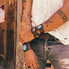 Boho Leather Bracelet Native American Cuff Southwestern