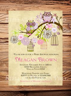 Owls Baby Shower Invitation, Baby Shower Invite, Girl, Whimsical, Pink, Teal, Green, Owls, Baby shower (Item 5203)