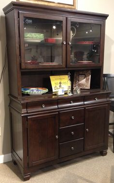 Hayley Buffet China The Select Veneers Are Bathed In A Dark Brown Finish That Flows