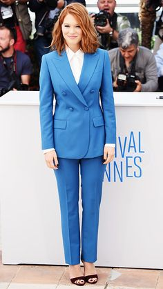 LEA SEYDOUX French actress Seydoux gave a Gallic twist to her Cannes look: a double-breasted blue suit to attend the Saint Laurent photo call, in which she plays style icon Loulou de la Falaise.