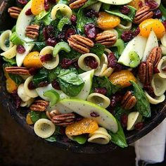 5 ounces fresh spinach (1/2 a 10 ounce bag) 3/4 cup chopped celery & dried cranberries 1 can (15 ounces) mandarin oranges - or fresh Cuties / Halos 1 cup of pomegranate seeds  1 large Granny Smith Apple 1 teaspoon lemon juice 1/3 cup pecans Optional: Feta cheese Orecchiette (little ears) pasta Dressing: 4 tablespoons olive oil  2 tablespoons apple cider vinegar 2 tbs white wine vinegar 2-4 tsp sugar - Or use Honey to taste  1/8 tsp each: paprika, onion powder  1 tbs poppyseed
