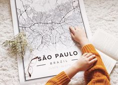 Map poster of Sao Paulo. Print size 50 x 70 cm available at Mapiful.com Sao Paulo Brazil, City Map Poster, Custom Map, Travel Aesthetic, Map Art, Tool Design, Design Your Own, Beautiful Pictures, Poster Prints