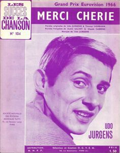 """Udo Jürgens - """"Merci Chérie"""", the winning song of the Eurovision Song Contest 1966 (book of music notes)"""