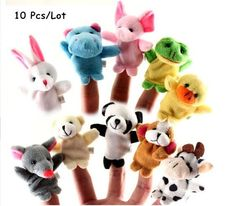 10 Pcs/Lot Baby Plush Toys Cartoon Animal Finger Hand Puppet Happy Family Baby Kids Educational Toys Christmas Gifts