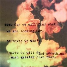 Someday we will find what we are looking for....Or maybe we won't, maybe we will find something much greater!