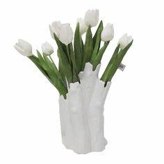 整体花艺 白色郁金香+陶瓷花器 W280*D130*H400mm