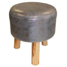 Tabouret gris anthracite, (0) 32 cm x H 36 cm - Structure en Pin