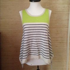 Cashmere Striped Hi Lo Sweater Tank Top I wish you could feel how soft this tank is! 100% cashmere, featherlight and delicious. From Saks Fifth Avenue. Black & white stripes with acid green color block. Totally gorgeous. Super hot with jeans! Great condition. 360 Cashmere Tops Tank Tops