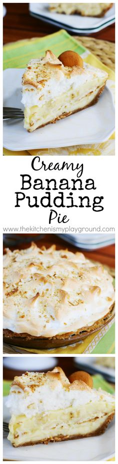 Banana Pudding Pie ~ all the creamy comfort of banana pudding, in a fun scratch-made PIE!    www.thekitchenismyplayground.com