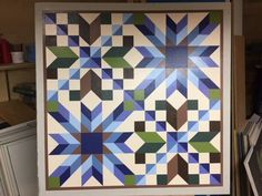Barn Quilt Designs, Barn Quilt Patterns, Quilting Designs, Block Patterns, Colorful Quilts, Blue Quilts, Star Quilts, Quilt Blocks, Arabesque
