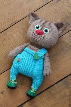 Купить Кот Бармалейкин - комбинированный, Вязание крючком, игрушка ручной работы, игрушка для детей