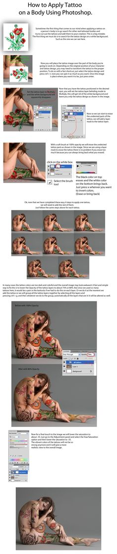 Apply Tattoo with Photoshop - TUTORIAL by =PSHoudini on deviantART #AdobePhotoshopTutorial