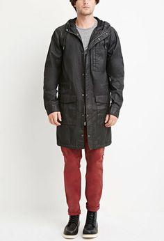 Hooded Longline Cotton Jacket | 21 MEN - 2000180886