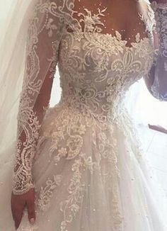 Ball Gown Illusion Jewel Long Sleeves Wedding Dress with Beading Appliques Ballkleid Brautkleid mit Perlen Applikationen Wedding Dress Sleeves, Long Wedding Dresses, Long Sleeve Wedding, Bridal Dresses, Wedding Gowns, Beautiful Gowns, The Dress, Dress Long, Ball Gowns