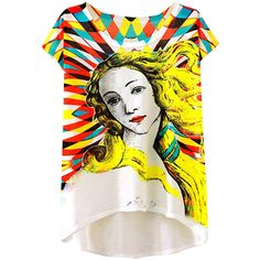 Womens Short Sleeve Blond Girl Printed High Low T-shirt Yellow (25 RON) ❤ liked on Polyvore featuring tops, t-shirts, yellow, short sleeve tee, yellow top, short sleeve t shirt, yellow tee and short sleeve tops