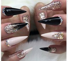 White and silver nails, black and nude nails, black ombre nails White And Silver Nails, Black And Nude Nails, Black Ombre Nails, Nude Pink, Black Nail Art, White Ombre, Black Silver, Ongles Bling Bling, Bling Nails