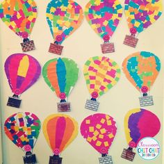 Such a cute art project for Spring! Hot air balloon mosaic masterpiece! Great for kindergarteners!