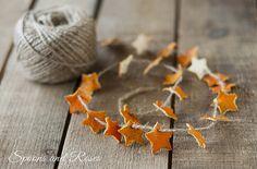 Dried orange peel garland