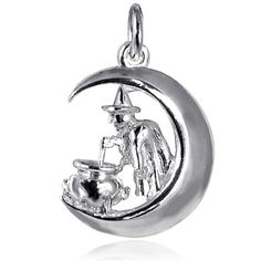 Witch on Moon Charm in Sterling Silver or Gold | Silver Star Charms