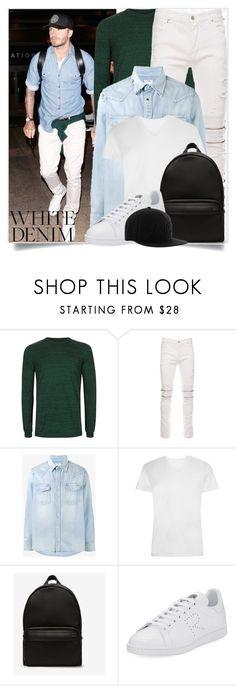 """Bright White: Summer Denim"" by tina-abbara ❤ liked on Polyvore featuring Topman, Marcelo Burlon, Visvim, Bally, adidas, Philipp Plein, men's fashion, menswear and whitejeans"