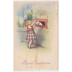 1948 cartolina d'epoca con bambina fiocco posta busta lettera buon compleanno