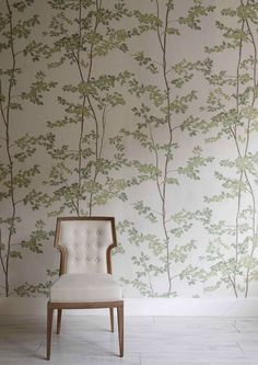 Beech wallpaper features a leaf & tree design in green & cream. Designer wallpapers by Lewis & Wood, worldwide delivery available. Decor, Wallpaper Bedroom, Interior, Feature Wallpaper, Happy Wallpaper, Wood Wall, Paper Wallpaper, Wallpaper Living Room, Wood Wallpaper