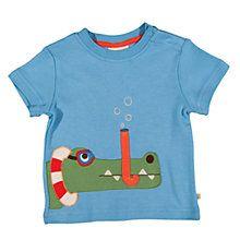 Buy Frugi Baby Snorkel Crocodile Applique T-Shirt, Blue Online at johnlewis.com